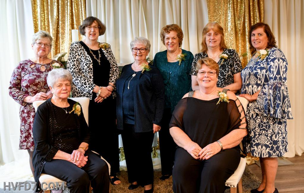 2020 HVFDLA Officers Front Seated (L) - 2nd Vice-President Ag Tinsley, Front Seated (R) - President Cyndi Wood, Standing (L) to (R) - Parliamentarian Cleone Wible, Secretary Robin Smith, Chaplain Rose Adams, Treasurer Franny Thompson, 1st Vice-President Elaine Quade and Assistant Treasurer Missy Lyon.