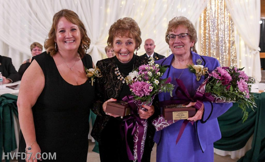 Congratulations to HVFDLA Sisters, Past President Mary Evelyn Goldsborough and Member Darlene Russell for 50 Years of Service, presented by Outgoing HVFDLA President Kim Sullivan.