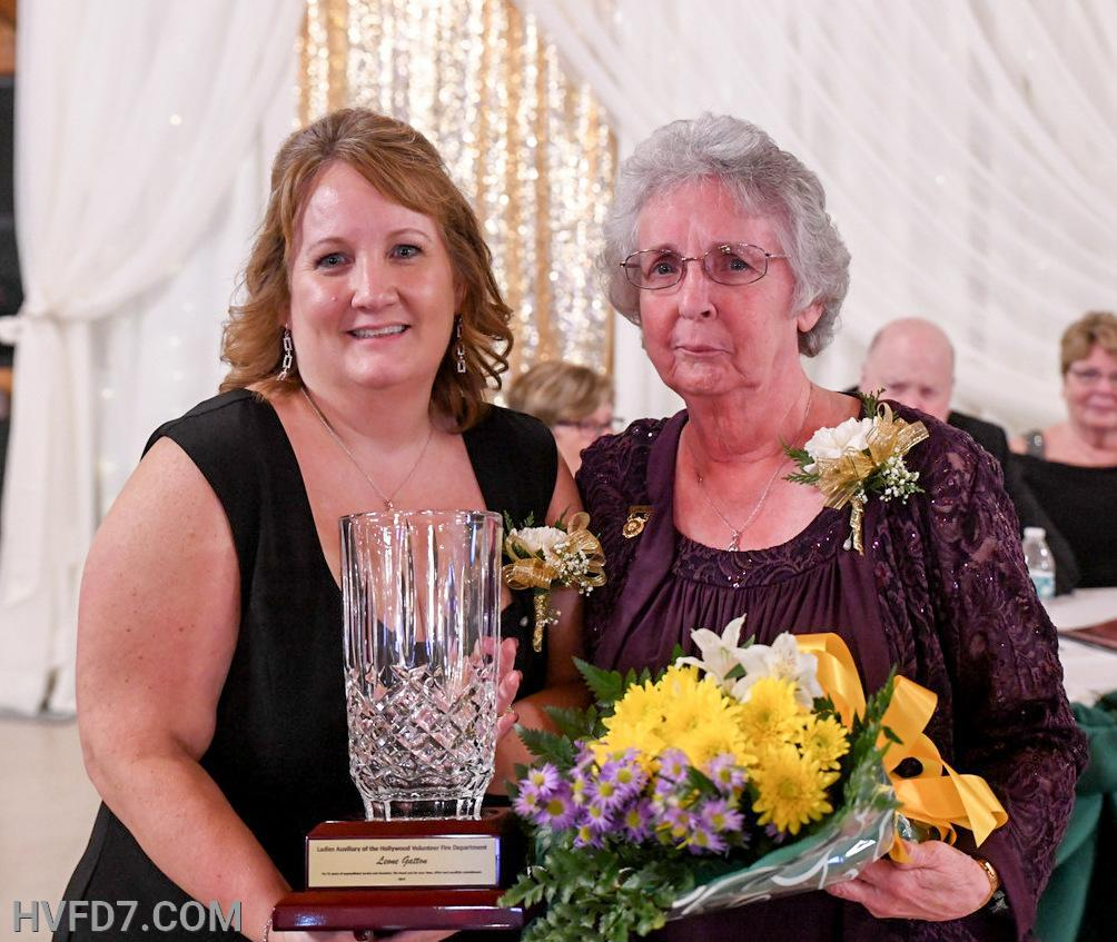 Congratulations to HVFDLA Past President Leon Gatton for 55 Years of Service, presented by her Daughter Outgoing HVFDLA President Kim Sullivan.