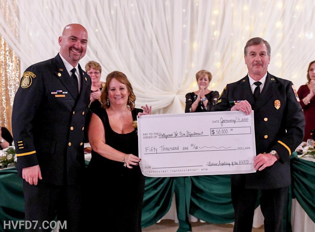 THANK YOU to the HVFDLA for presenting the HVFD Membership a $50,000 Check.  This shows how much the HVFDLA support the HVFD Membership, as this money will assist in purchasing equipment and supplies to allow HVFD to provide the Highest Quality of Service to our Community.