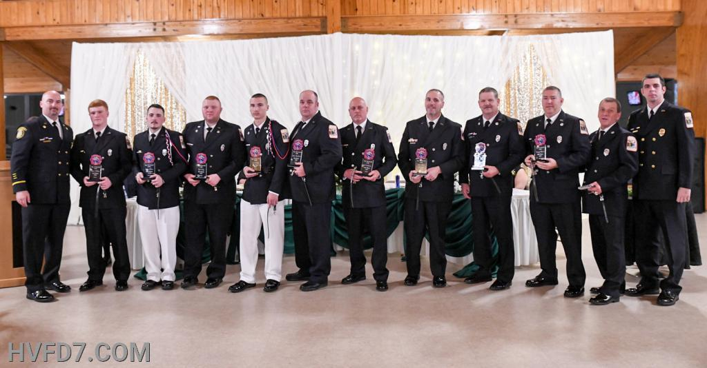 Congratulations to HVFD Top (10) Responders for 2019!!  Pictured from (L) to (R) - Fire Chief Ricky Brady, #1 Responder FF Brian Williams, #2 Responder FF Jason Sullivan, #3 Responder Lieutenant Tyler Insley, #4 Responder FF Tyler Brady, #5 Responder FF Brian Woodburn, #6 Responder FF Scott Hankinson, #7 Responder Chief Engineer Mike Sullivan, #8 Responder Engineer Glenn Thompson, #9 Responder Engineer Dale Pilkerton, Jr., #10 Responder Engineer Tony Norris and Assistant Fire Chief Ernest Rogers.  Presented by Fire Chief Ricky Brady and Assistant Fire Chief Ernest Rogers.