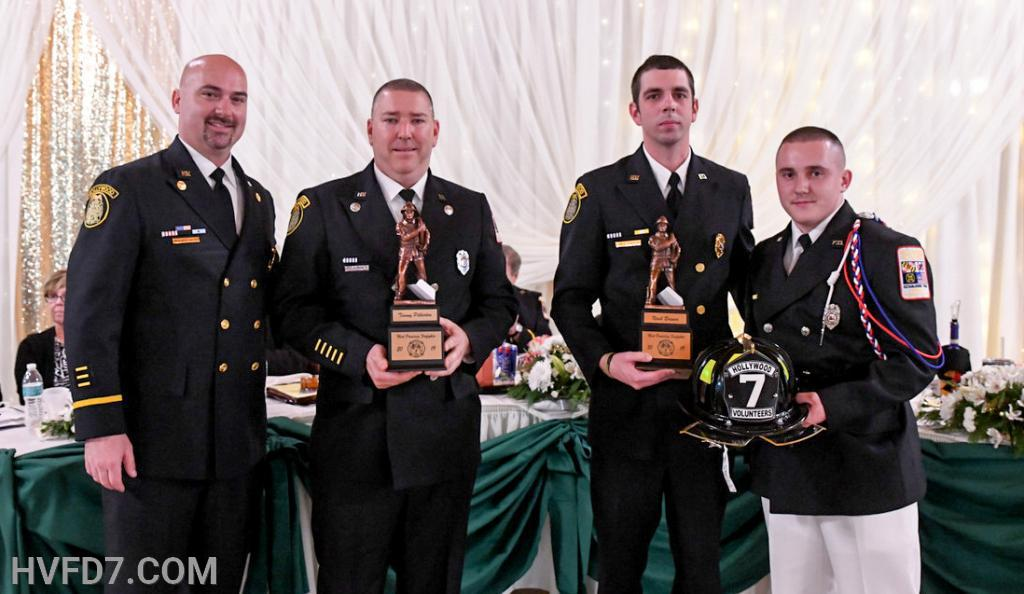 Congratulations to HVFD FF Timmy Pilkerton and FF Noah Brewer for being presented the 2019 Most Promising Fire Fighter of The Year Award.  Pictured from (L) to (R) - Fire Chief Ricky Brady, Engineer Dale Pilkerton, Jr., Assistant Fire Chief Ernest Rogers and FF Noah Brewer.  FF Timmy Pilkerton was not able to be present, as he is currently in Ohio taking schooling to become a Professional Welder.  Timmy's father Dale Pilkerton, Jr. received the Award on his behalf and Timmy was able to view this on Live Stream.