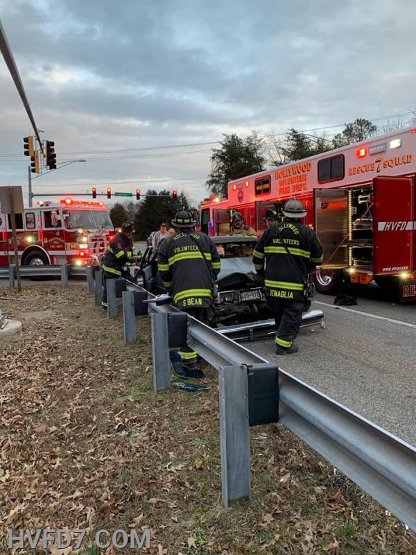 Crews from Rescue Squad 7, Engine 73, Squad 2 and E91 extricating the occupant from one of the vehicles involved.