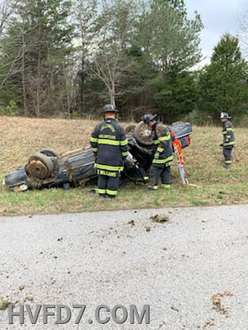 Rescue Squad 7 Crew Stabilized Overturned Vehicle.