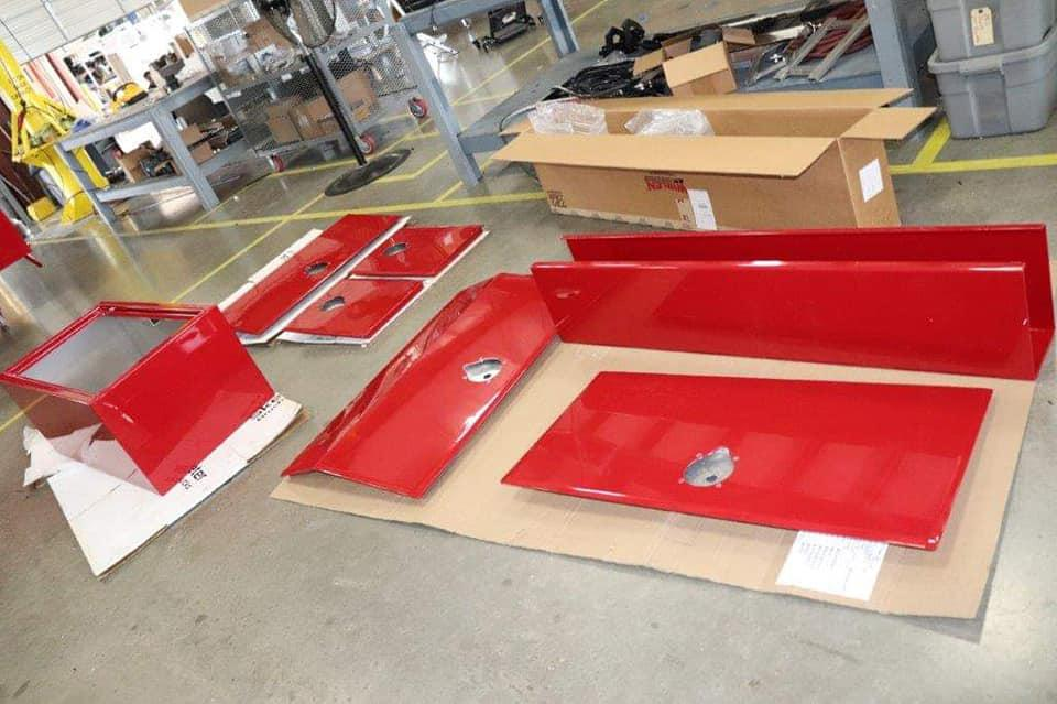 Compartment Doors after returning from the Paint Shop.
