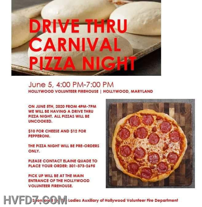 Drive Thru Carnival Pizza Nigh Friday 5 June 2020.   4:00pm - 7:00pm