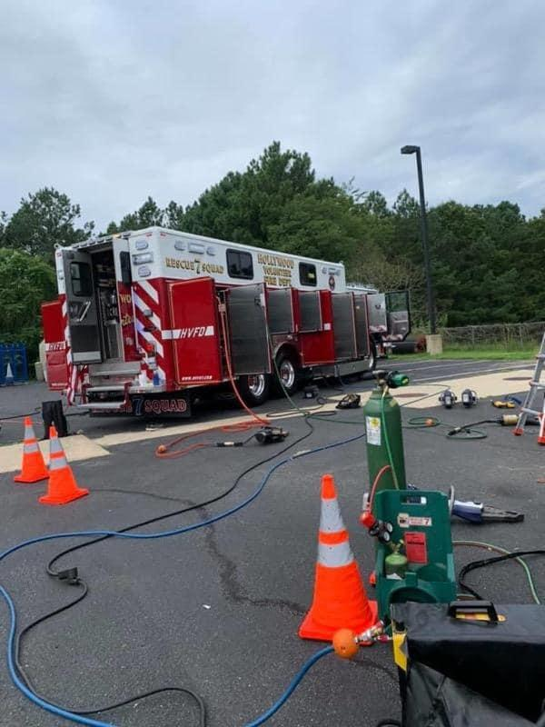 HVFD Squad 7 utilizing Specialized Equipment at MFRI ARFF Training Class