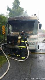 Hollywood Volunteers responded to this RV fire at the Base of the Solomons Bridge