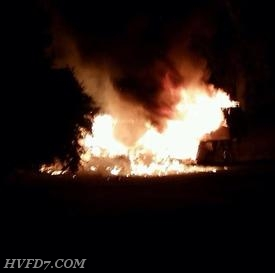 Engine 74 found this Camper Trailer Fully involved in Leonardtown